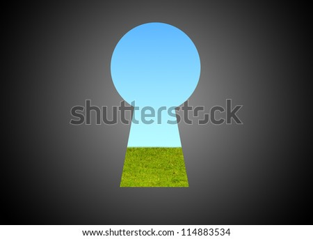 concept image of a key hole to the good environment