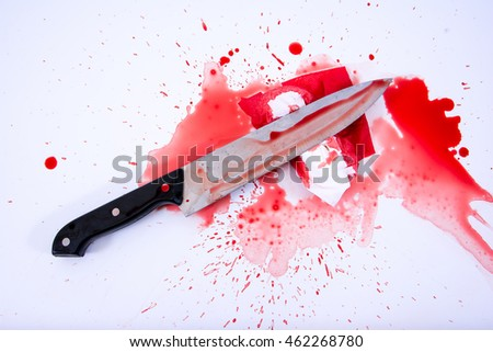 Concept image of a sharp knife with blood and tissue paper background.kill concept.murder concept.