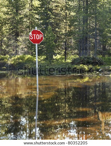 Concept image of a stop sign at a flooded intersection.