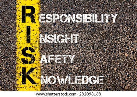 Concept image of Business Acronym RISK  as RESPONSIBILITY, INSIGHT, SAFETY, KNOWLEDGE written over road marking yellow paint line. - stock photo