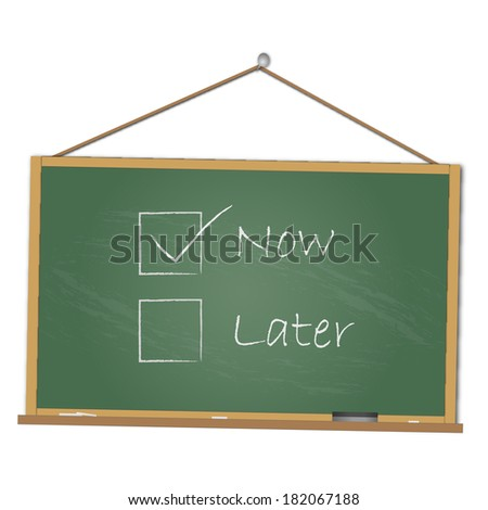 "Concept image of doing something ""Now"" handwritten on a chalkboard."