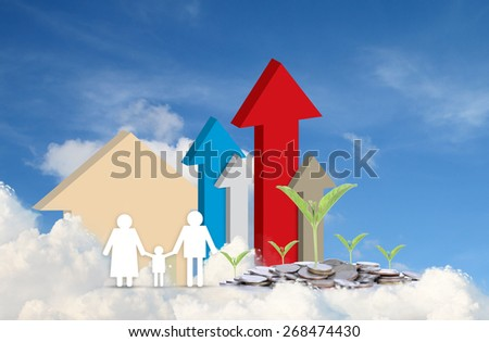 concept image of family paper make money - stock photo