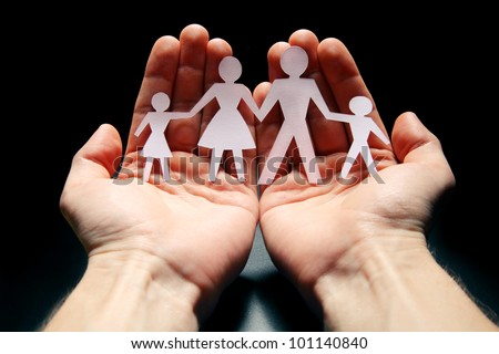 Concept image of family protection - stock photo