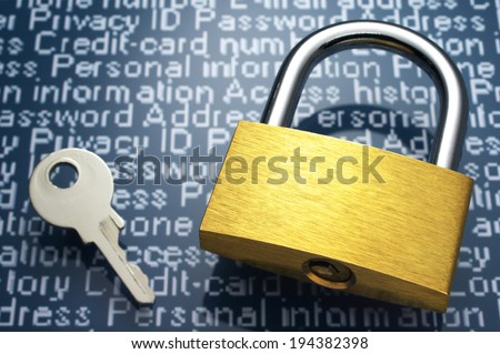 Concept image of internet security. Padlock, key and personal information.  - stock photo