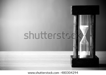 Concept image of management at the time of life. Black and White Hourglass. passing time in a countdown sandglass with copy space for add text.