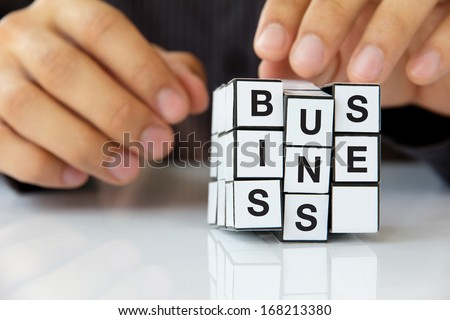 concept image of rubik's cube business - stock photo