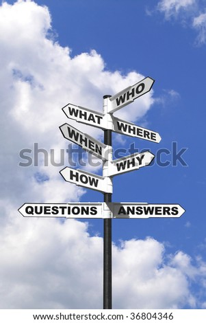 Concept image of the six most common questions and answers on a signpost.