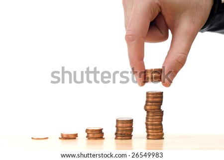 Concept image of the stock market going up, isolated against a white background