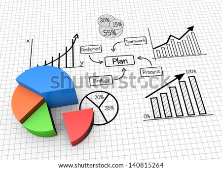 Concept image planning, finances and data - stock photo