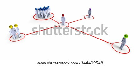 Concept image representing networking. 5 different color figurine linked in a diagram / Networking - stock photo