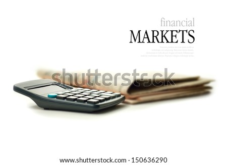 Concept image representing the reporting of the financial markets against a white background. Copy space. - stock photo
