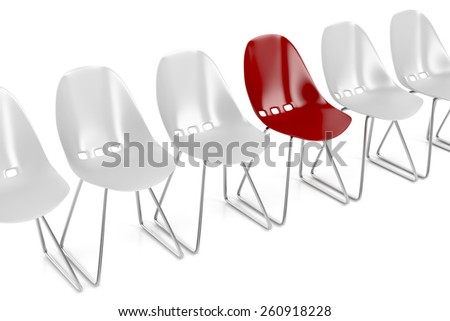 Concept image with red unique chair - stock photo