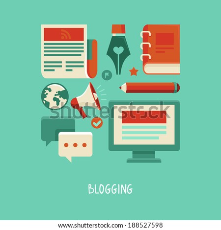 Concept in flat style with trendy icons - blogging and writing for website - raster illustration - stock photo