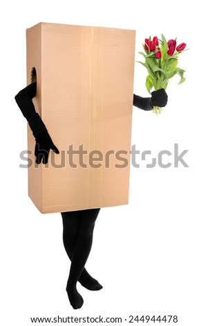 Concept in front of white: Flower deliverer  - stock photo