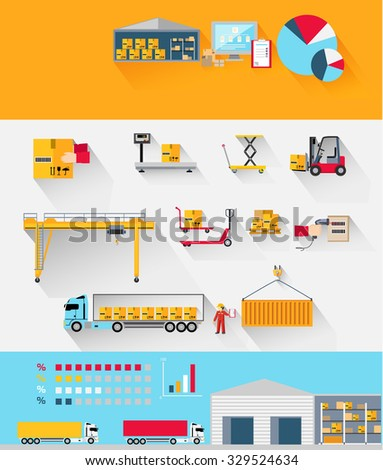 Concept infographics equipment warehouse. Delivery and cargo transportation, shipping service, industry freight and package, logistic industrial, export and distribution production. Raster version - stock photo