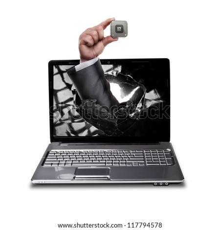 CONCEPT. laptop with broken screen and hand hand holds the processor CPU isolated on white background High resolution - stock photo
