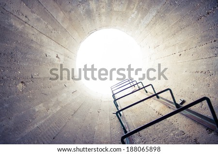 concept - light at the end of the tunnel - stock photo