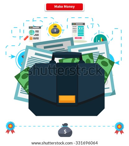 Concept make money. Briefcase with income. Cash investment, financial wealth, finance profit, growth rich, banking and income, currency and economy illustration. Raster version - stock photo