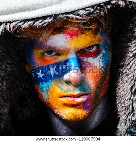 concept man portrait fashion bandit man  ganster in white hood color face art - stock photo