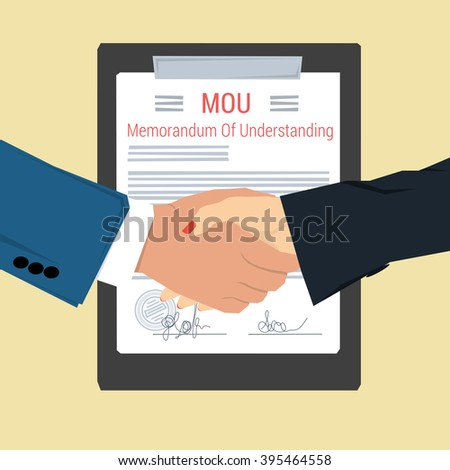Concept memorandum of understanding - MOU. Man and woman shaking hands on background of signed document with seal. Flat style. Web infographic - stock photo