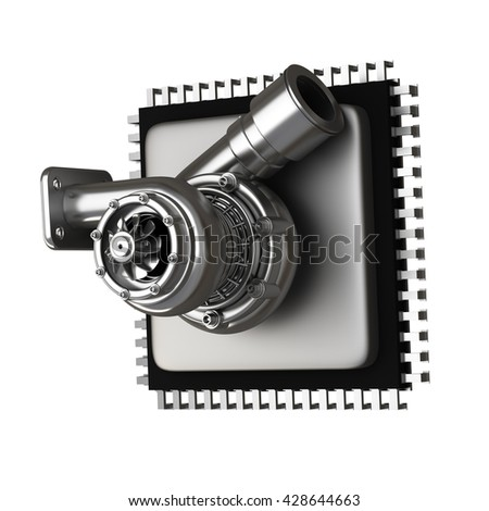 concept. Microchip turbocharger isolated on white background. High resolution 3d