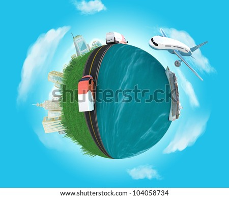concept miniature globe showing the various modes of transport - stock photo