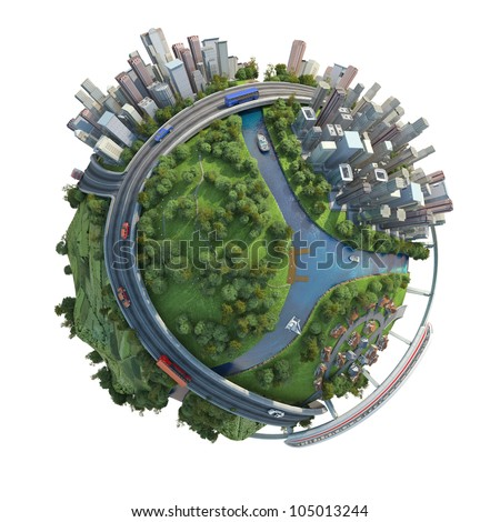 concept miniature globe showing the various modes of transport and life styles in the world, isolated on white background - stock photo