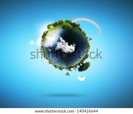 concept miniature globe showing the various modes of transport and life styles in the world - stock photo