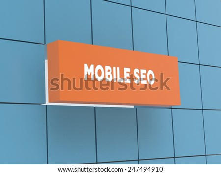 Concept MOBILE SEO - stock photo
