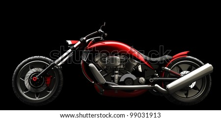 concept motorcycle isolated on black background (No trademark issues is my own design) High resolution 3D