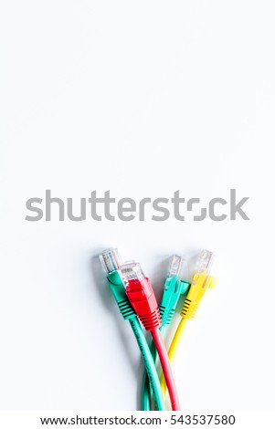 concept network internet cable on white background top view