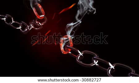 Concept of a breaking chain - stock photo