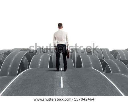 Concept of a businessman in the face of difficulties - stock photo