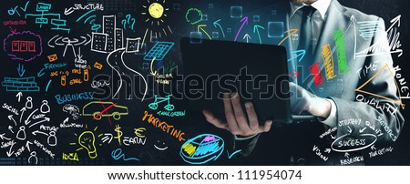 Concept of a businessman that work on new ideas - stock photo