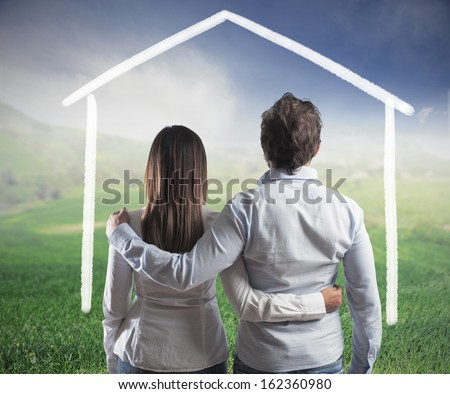 Concept of a couple planning a new family - stock photo