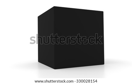Concept of a 3d black box isolated on white background. Rendered illustration.