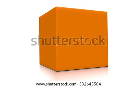 Concept of a 3d orange box isolated on white background. Rendered illustration. - stock photo