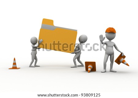 concept of a folder under construction. - stock photo