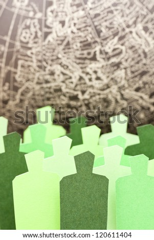 Concept of a global ecologist society taking care of the planet - stock photo