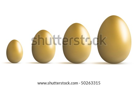 Concept of a golden egg growing in size and fortune - stock photo