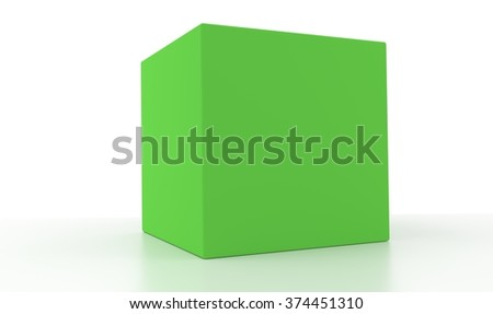 Concept of a green box isolated on a white background.