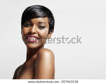 concept of a lifting effect on a ideal skin  - stock photo