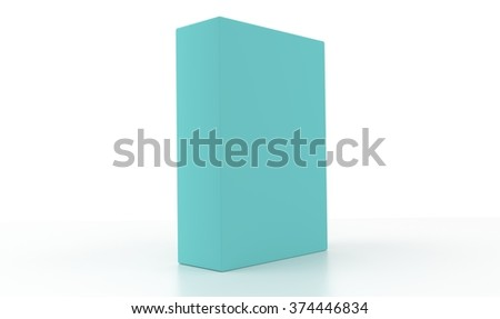 Concept of a pale cyan box isolated on a white background. - stock photo