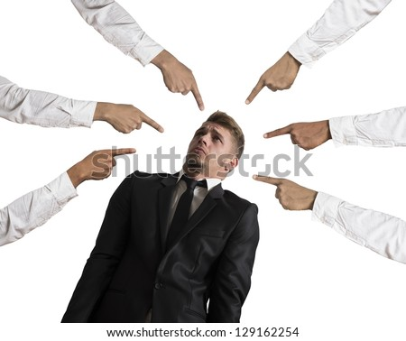 Concept of accused businessman on white background - stock photo
