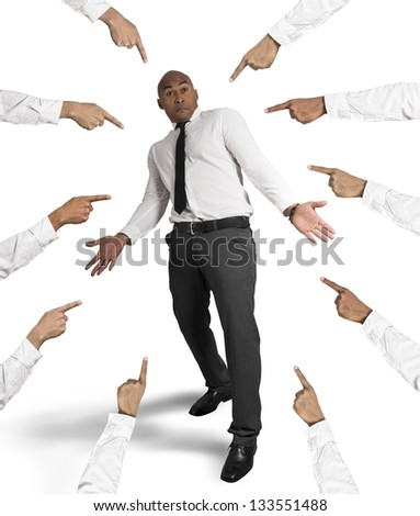 Concept of accused businessman with fingers pointing - stock photo