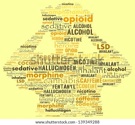 Concept of addictive substance in text collage - stock photo