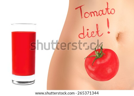 Concept of advertising tomato diet - stock photo