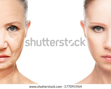 concept of aging and skin care. face of young woman and an old woman with wrinkles - stock photo