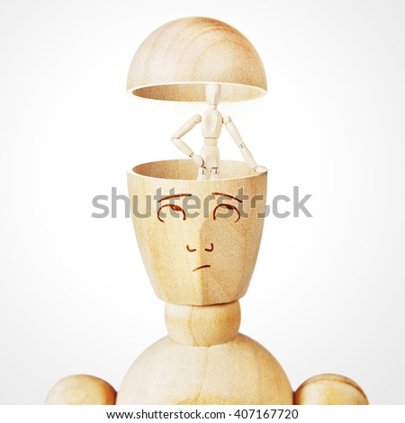 Concept of alter ego in the human mind. Abstract image with a wooden puppet - stock photo