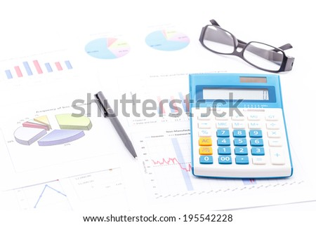 Concept of analysis business by graph isolated on white background.